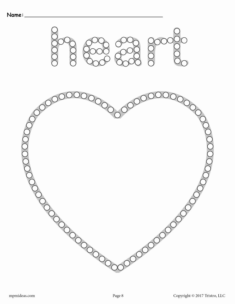 Heart Worksheets for Preschoolers Kids Heart Q Tip Painting Printable
