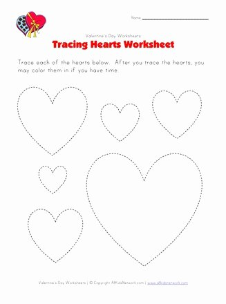 Heart Worksheets for Preschoolers Kids Heart Tracing Worksheet
