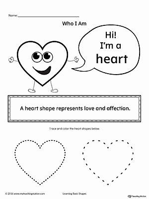 Heart Worksheets for Preschoolers Kids Learning Basic Geometric Shape Heart
