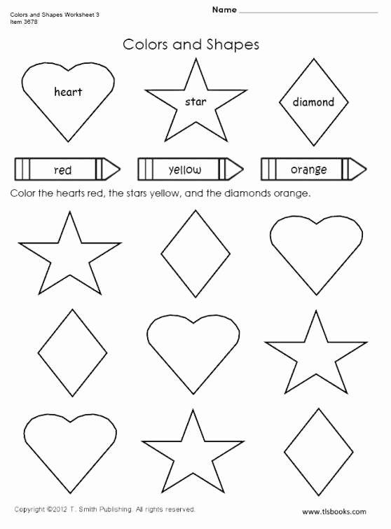 Heart Worksheets for Preschoolers New Colors and Shapes Worksheet Preschool Worksheets