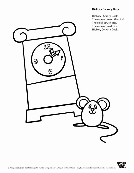 Hickory Dickory Dock Worksheets for Preschoolers Best Of Coloring Pages Hickory Dickory Dock Live