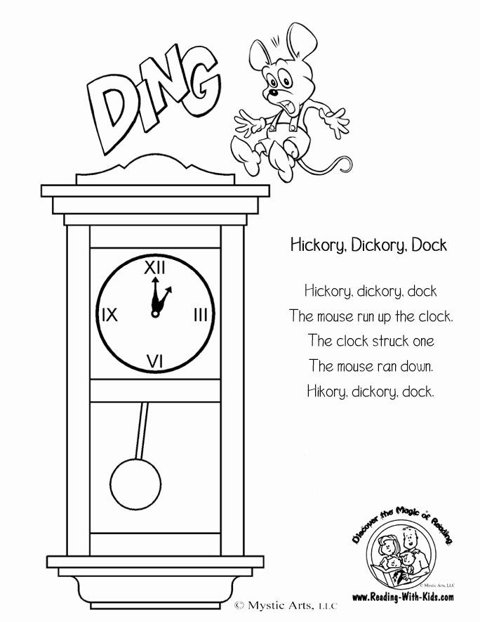 Hickory Dickory Dock Worksheets for Preschoolers Inspirational Cute Nursery Rhyme Ideas