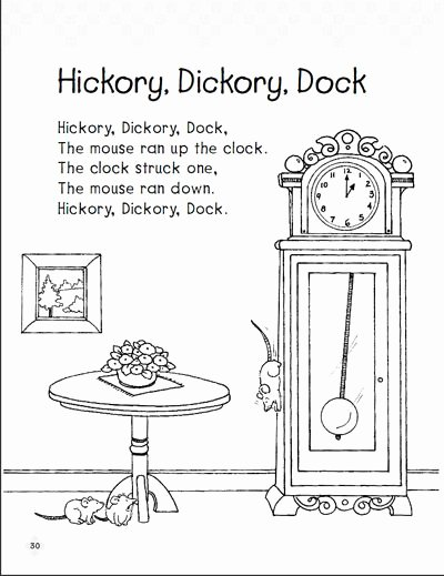 Hickory Dickory Dock Worksheets for Preschoolers Inspirational Hickory Dickory Dock Early Reading Prehension