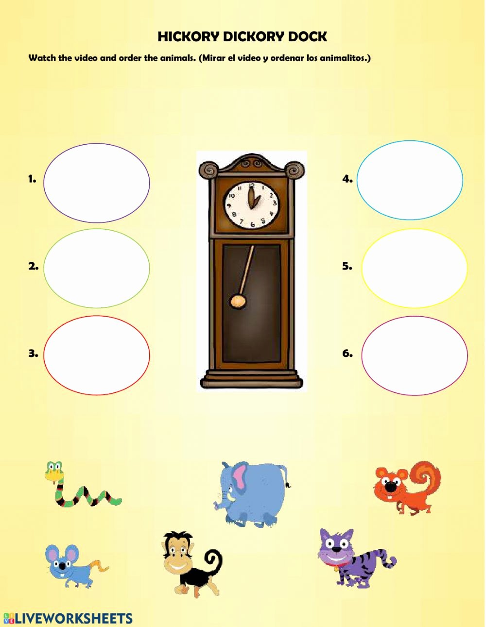 Hickory Dickory Dock Worksheets for Preschoolers Kids Hickory Dickory Dock Interactive Worksheet