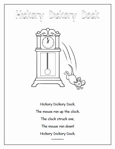 Hickory Dickory Dock Worksheets for Preschoolers Printable Hickory Dickory Dock Free Printable Allfreeprintable