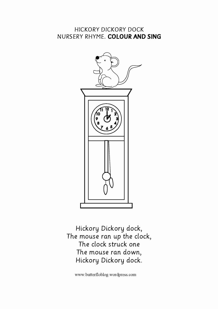 Hickory Dickory Dock Worksheets for Preschoolers Printable Hickory Dickory Dock Nursery Rhyme – butterflo Kids