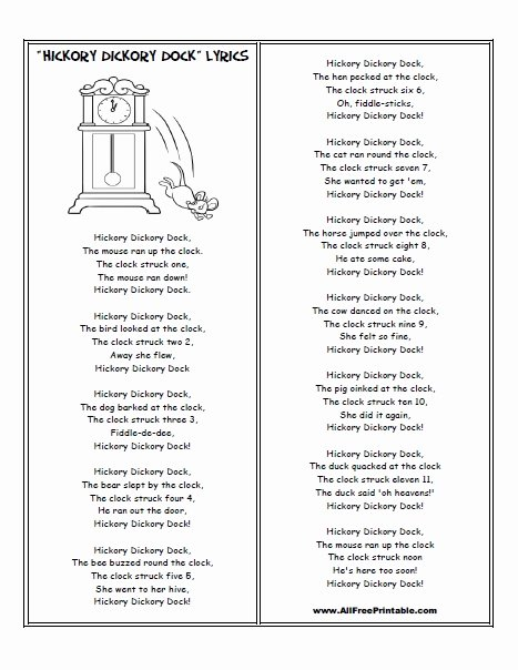 Hickory Dickory Dock Worksheets for Preschoolers top Hickory Dickory Dock Lyrics Free Printable