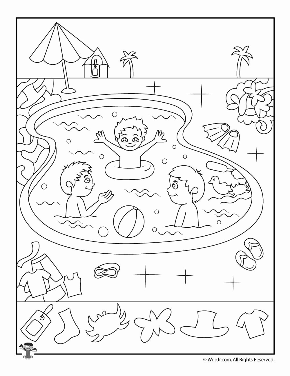 Hidden Objects Worksheets for Preschoolers Printable Pool Hidden Objects Worksheet Woo Jr Kids Activities