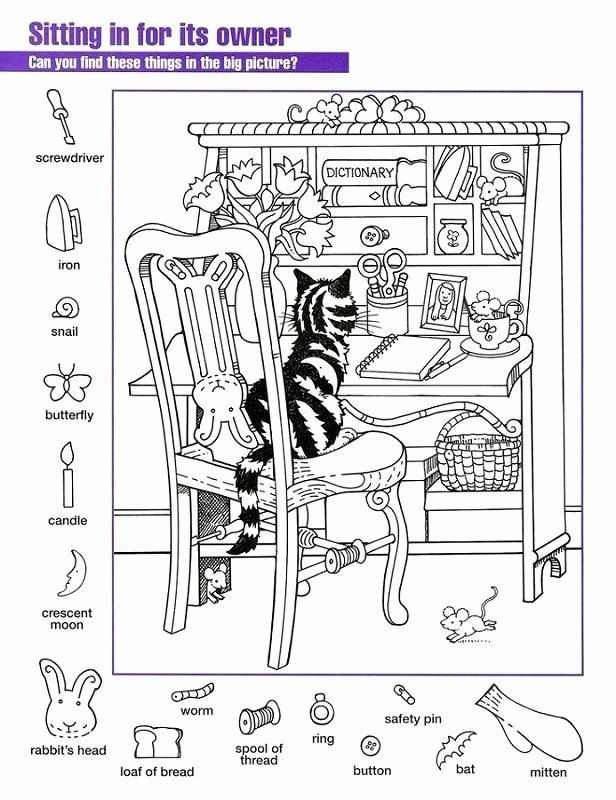Hidden Picture Worksheets for Preschoolers top Hidden Pictures Worksheets Cat