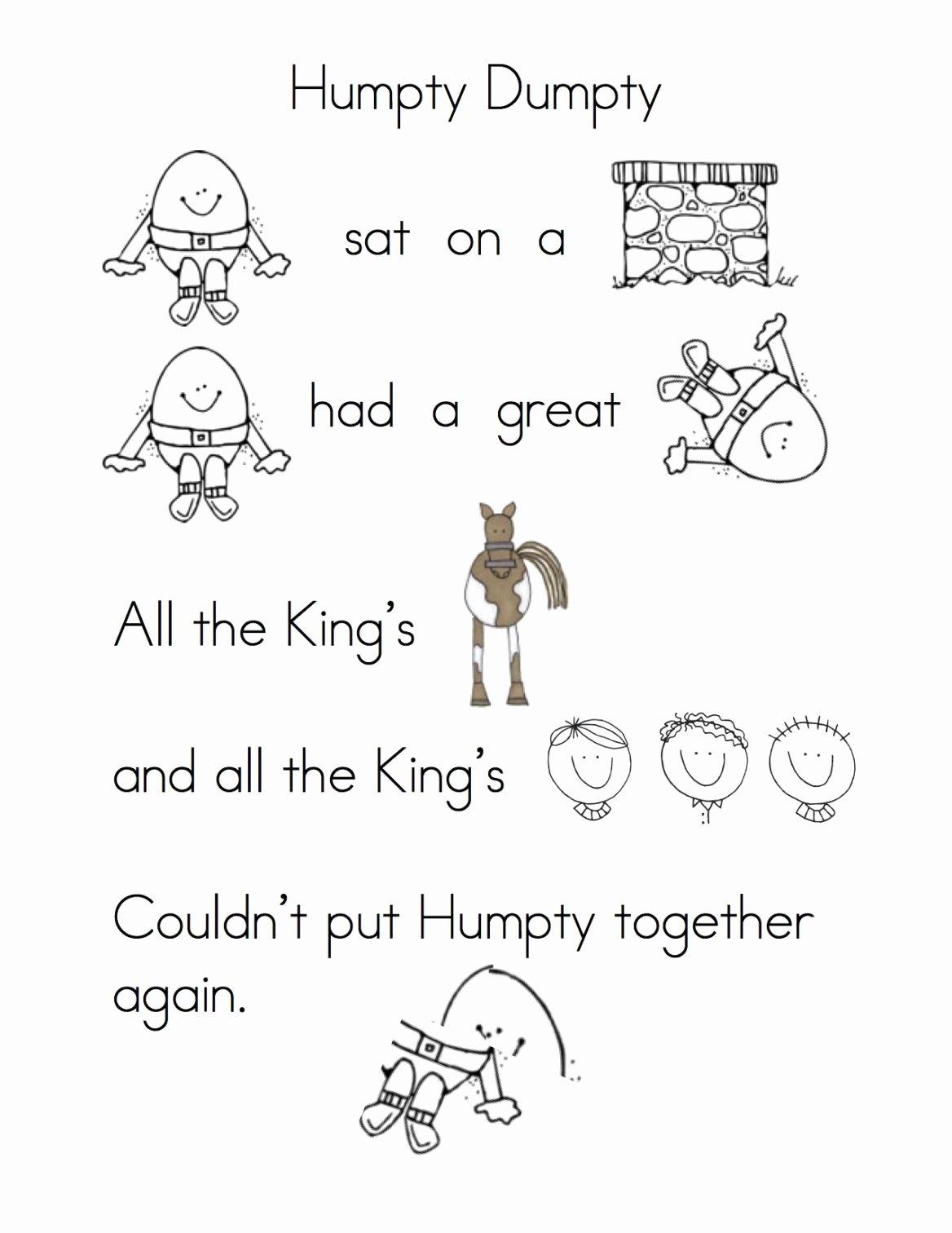 Humpty Dumpty Worksheets for Preschoolers Ideas Humpty Rebus