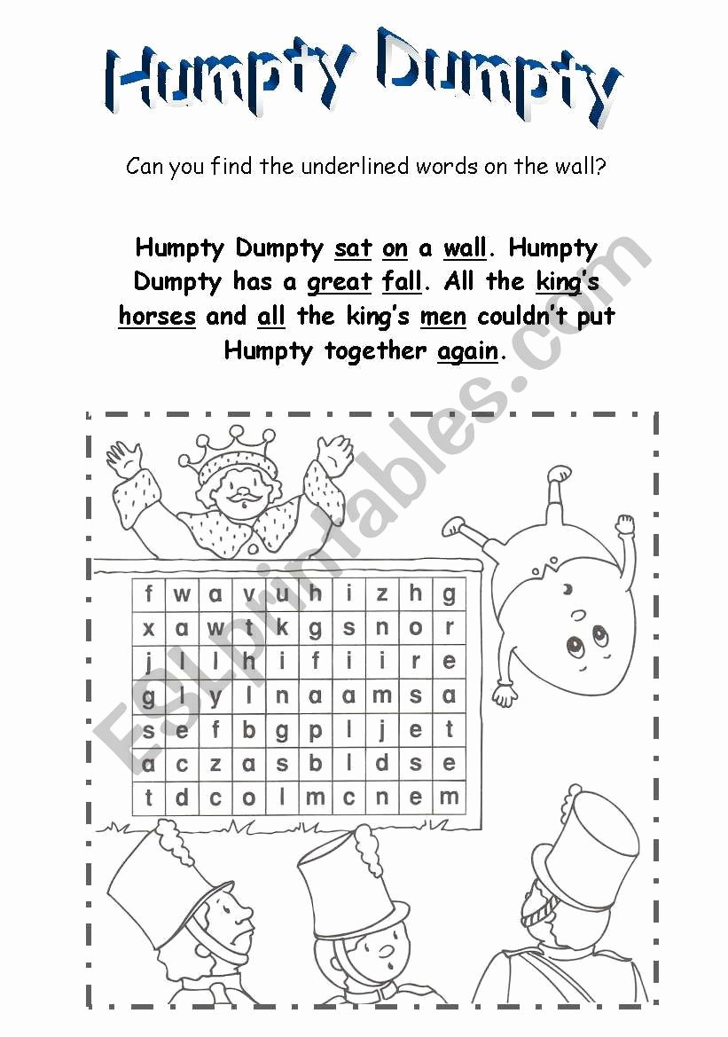 Humpty Dumpty Worksheets for Preschoolers Inspirational Humpty Dumpty Esl Worksheet by Betty23