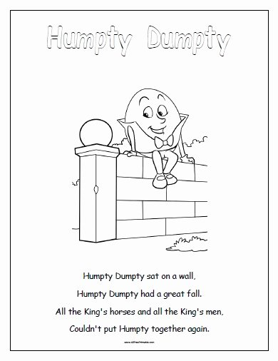 Humpty Dumpty Worksheets for Preschoolers Lovely Humpty Dumpty Free Printable Allfreeprintable