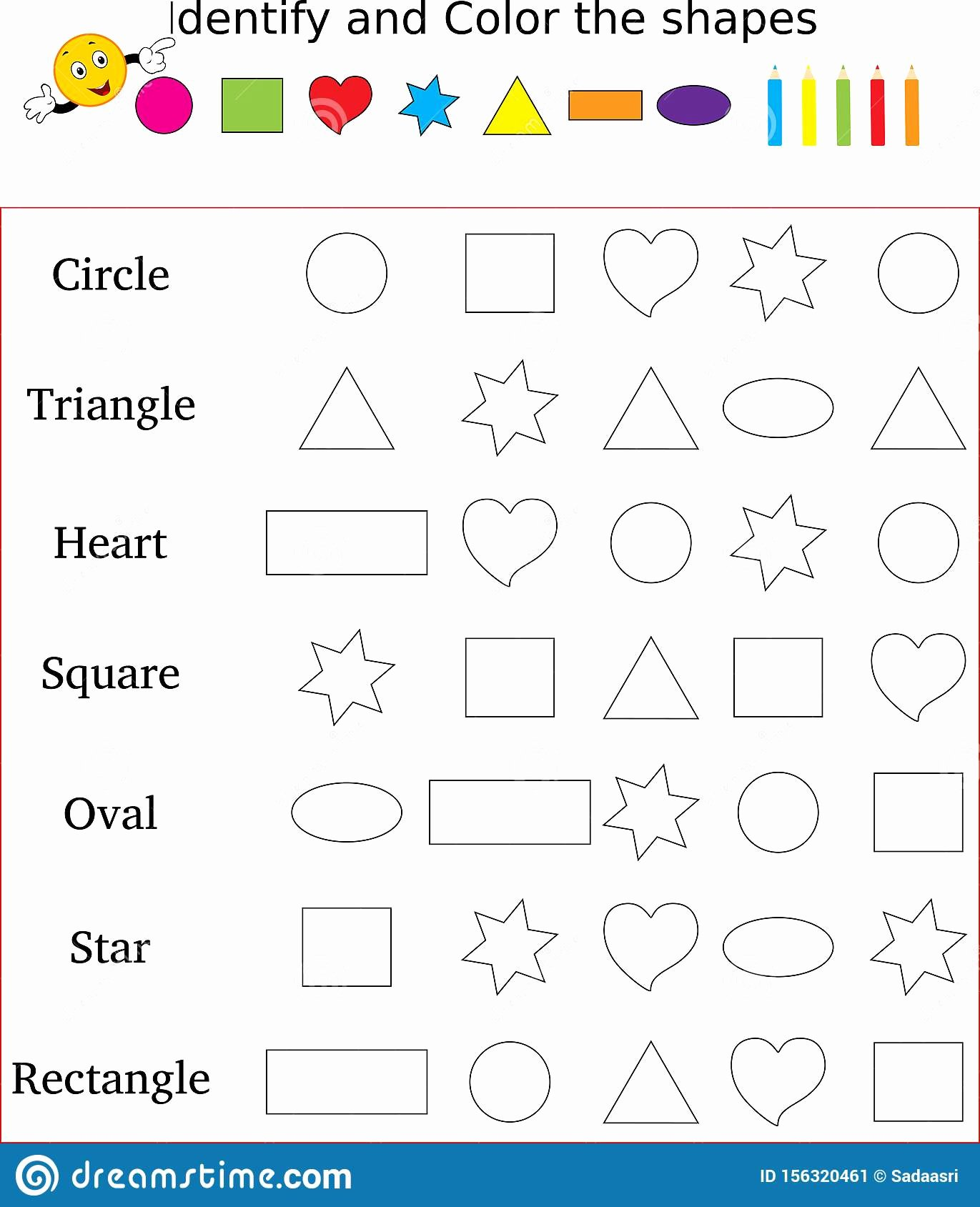 Identifying Shapes Worksheets for Preschoolers Best Of Identify and Color the Correct Shape Worksheet Stock Image