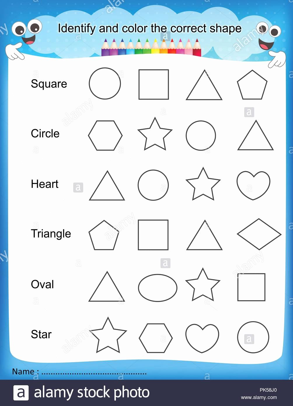 Identifying Shapes Worksheets for Preschoolers Ideas Worksheet Identify and Color the Correct Shape Colorful