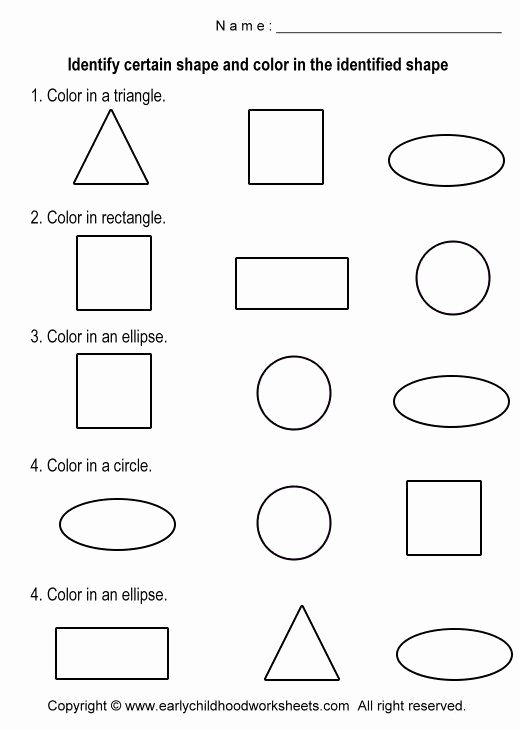 Identifying Shapes Worksheets for Preschoolers Inspirational Coloring Shapes Worksheets Worksheet 4