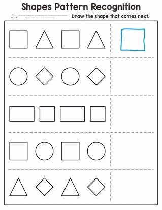 Identifying Shapes Worksheets for Preschoolers Kids Shapes Pattern Recognition for Kindergarten Itsybitsyfun
