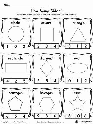 Identifying Shapes Worksheets for Preschoolers Lovely Identifying and Counting Shape Sides