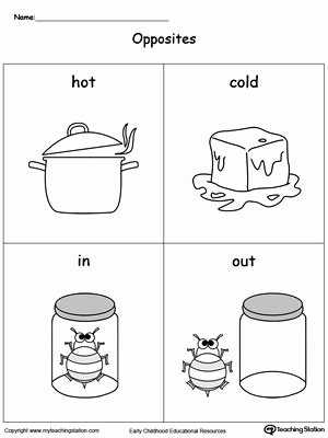 In and Out Worksheets for Preschoolers Kids Opposites Flashcards Hot Cold In Out
