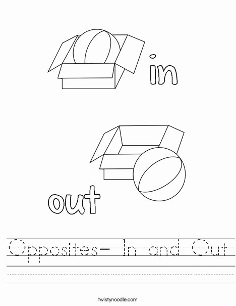 In and Out Worksheets for Preschoolers Printable Opposites In and Out Worksheet Twisty Noodle