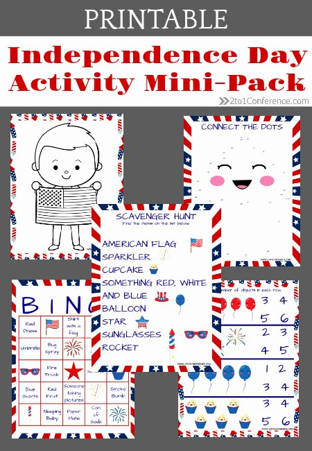 Independence Day Worksheets for Preschoolers Free Independence Day Printable Pack the 2 1 Conference