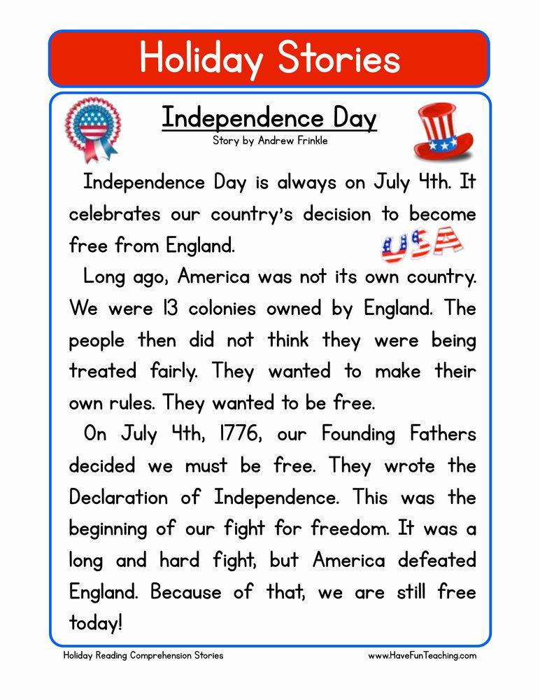 Independence Day Worksheets for Preschoolers Printable Independence Day Reading Prehension Worksheet