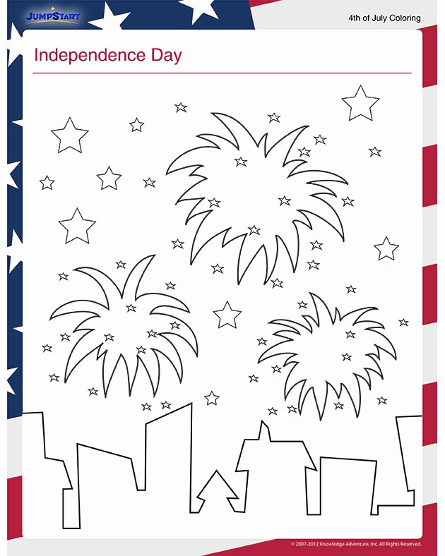 Independence Day Worksheets for Preschoolers Printable Independence Day View – Free July 4th Coloring Page for Kids