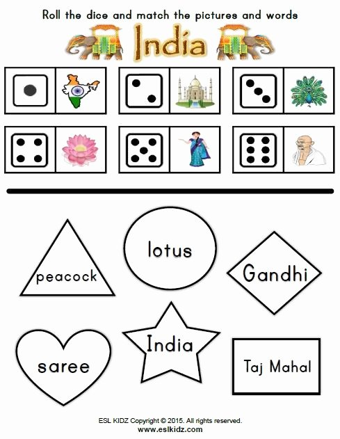 Independence Day Worksheets for Preschoolers Printable India Dice Shape Activity