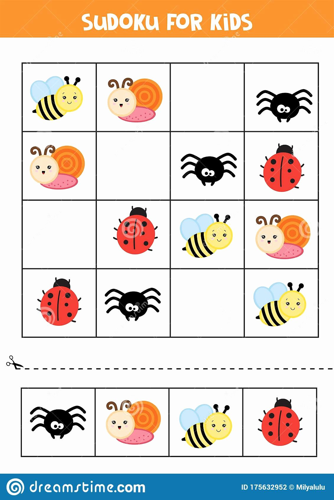Insects Worksheets for Preschoolers Kids Educational Worksheet for Preschool Kids Sudoku for Kids