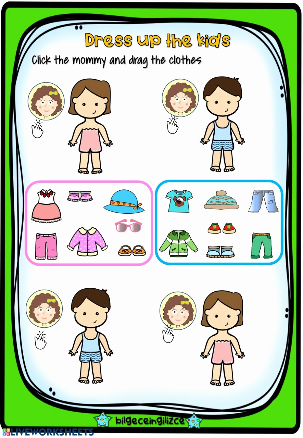 Interactive Worksheets for Preschoolers Free Dress Up the Kids Interactive Worksheet