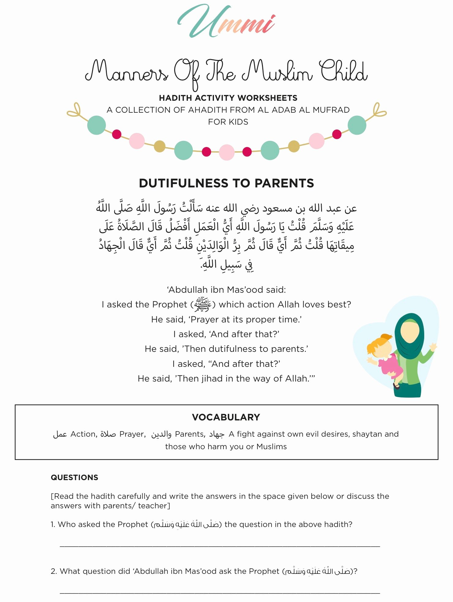 Islamic Worksheets for Preschoolers Ideas Hadith Activity Worksheets for Kids – Ummi – islamic