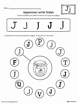 J Worksheets for Preschoolers Fresh Uppercase Letter J Styles Worksheet