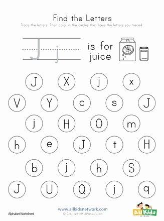 J Worksheets for Preschoolers Kids Find the Letter J Worksheet