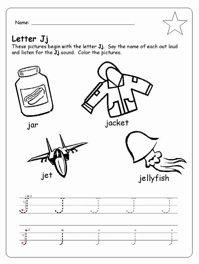 J Worksheets for Preschoolers Lovely Letter J Worksheet for Kindergarten Preschool and 1 St Grade
