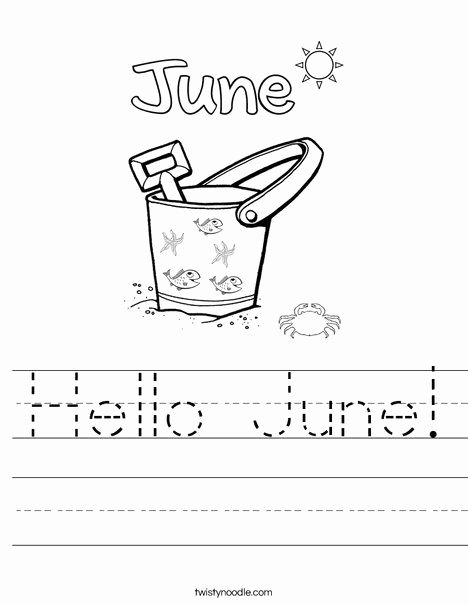 June Worksheets for Preschoolers Fresh Hello June Worksheet