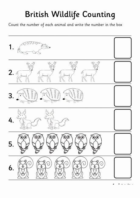 Jungle Animals Worksheets for Preschoolers Printable Animal Number Count Worksheet for Kids