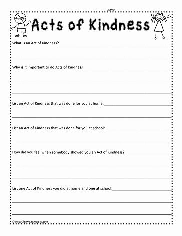 Kindness Worksheets for Preschoolers Kids Act Of Kindness Worksheetworksheets