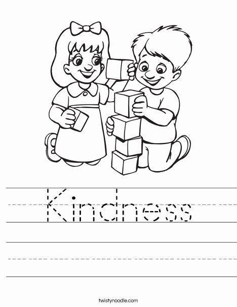 "Kindness Worksheets for Preschoolers Lovely Kids Playing Blocks Worksheet Trace ""kindness"" Word"