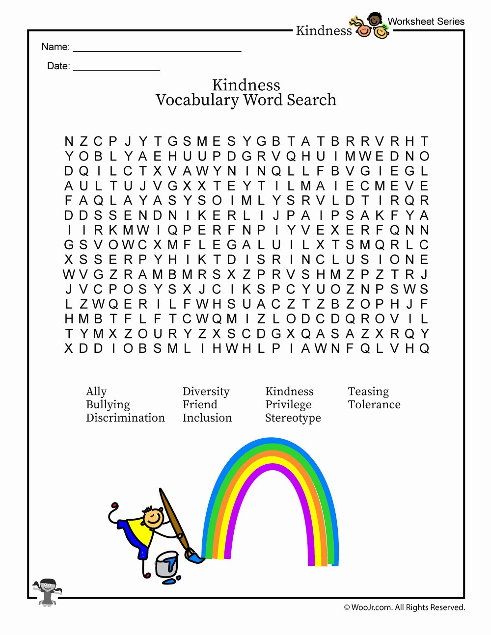 Kindness Worksheets for Preschoolers New Classroom Kindness & Inclusion Vocabulary Word Search