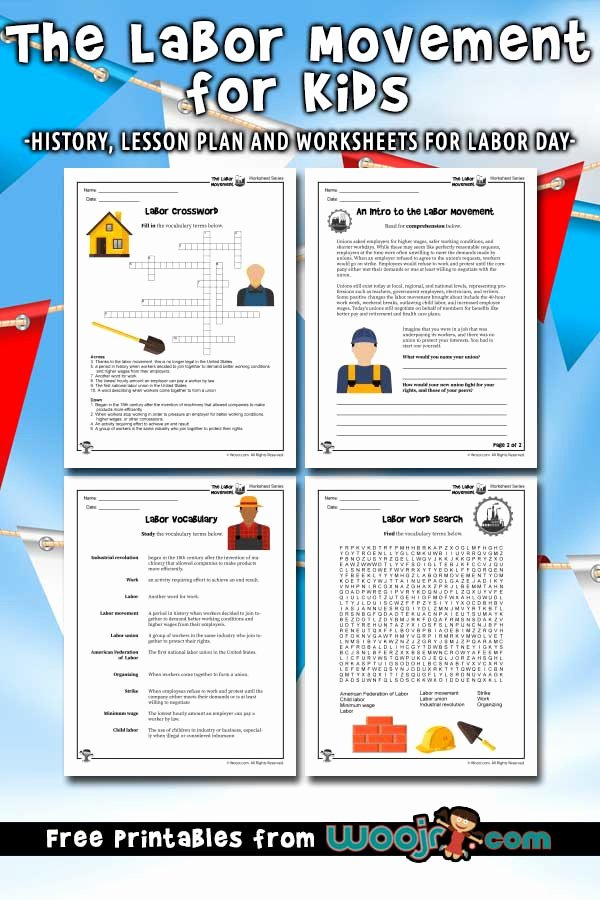 Labor Day Worksheets for Preschoolers Free Labor Day for Kids Labor Movement History Lesson Plan