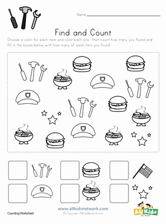 Labor Day Worksheets for Preschoolers Fresh Labor Day Find and Count Worksheet
