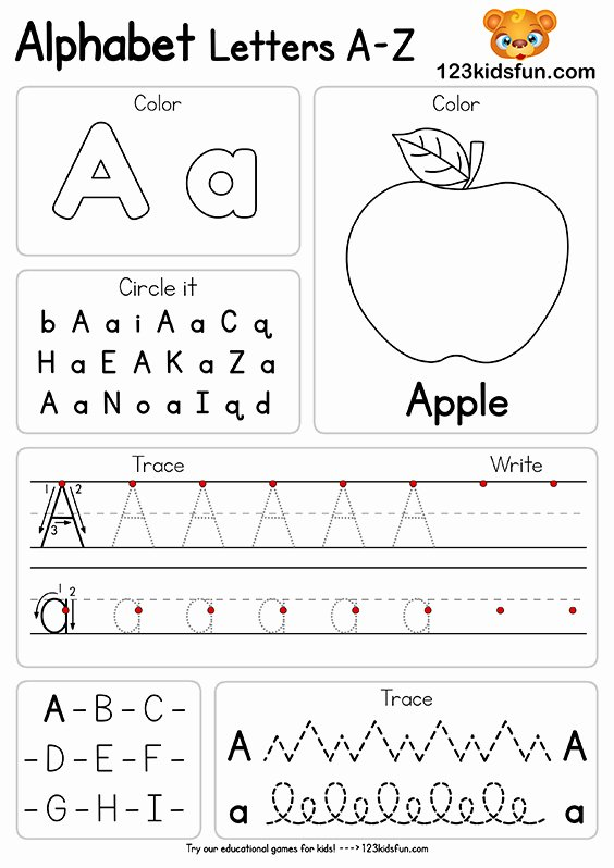 Learning Letters Worksheets for Preschoolers top Free Alphabet Practice A Z Letter Worksheets