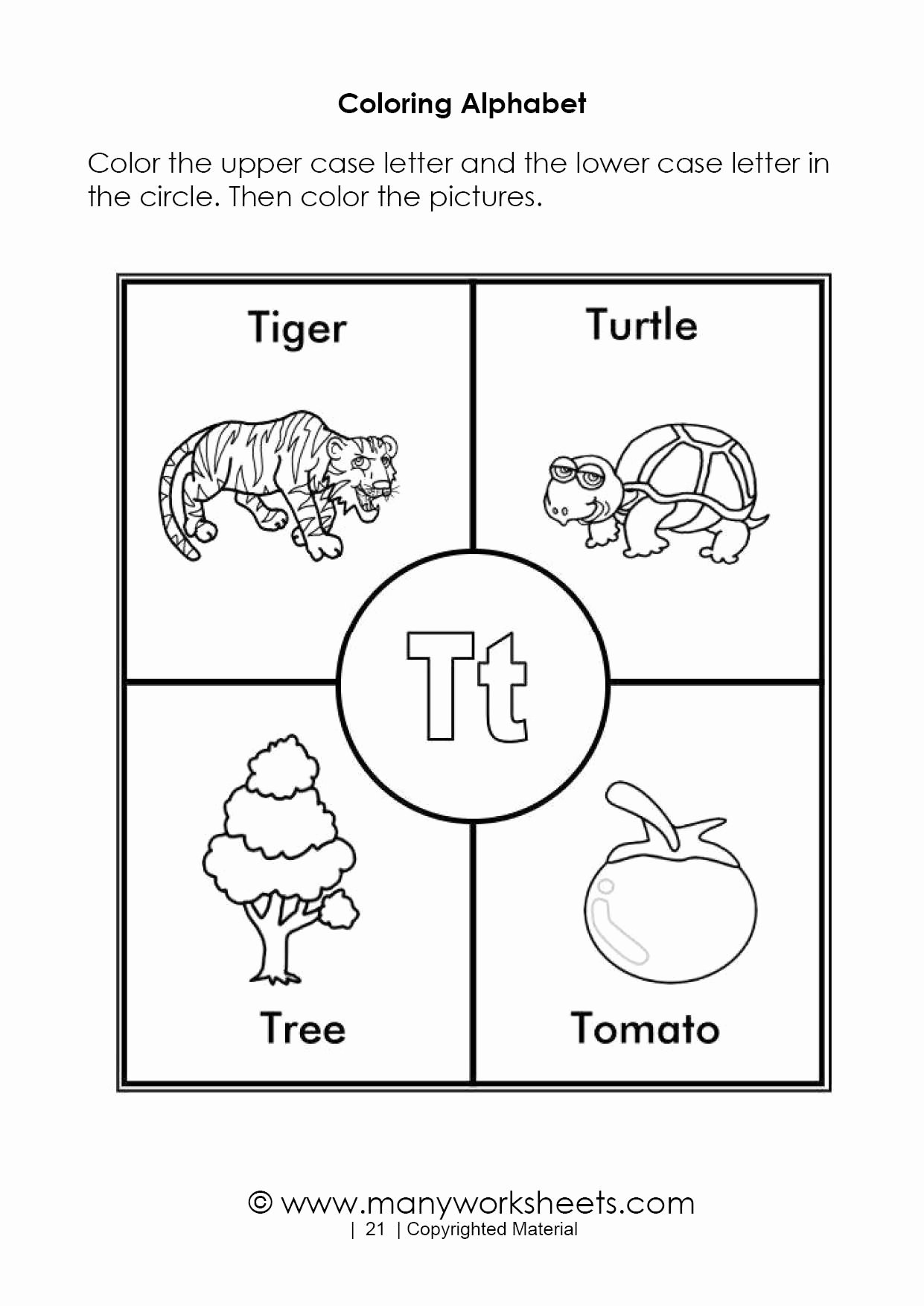 Letter A Coloring Worksheets for Preschoolers Fresh Alphabet Coloring Pages – Letter T