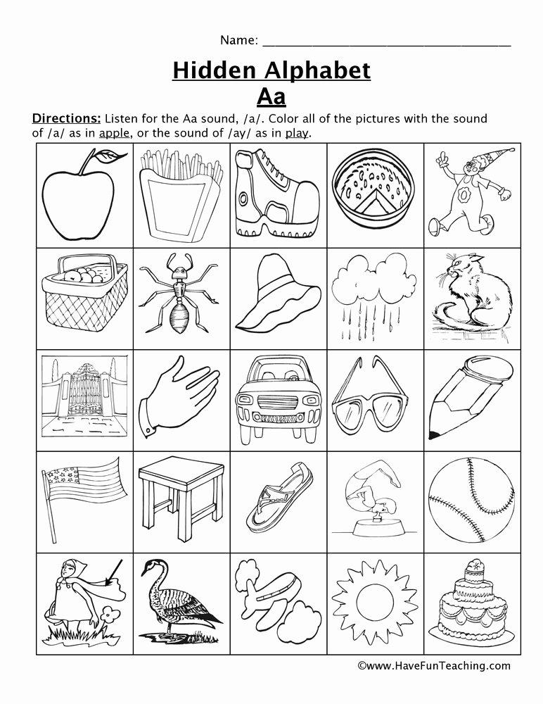 Letter A sound Worksheets for Preschoolers Kids Letter sounds Worksheets