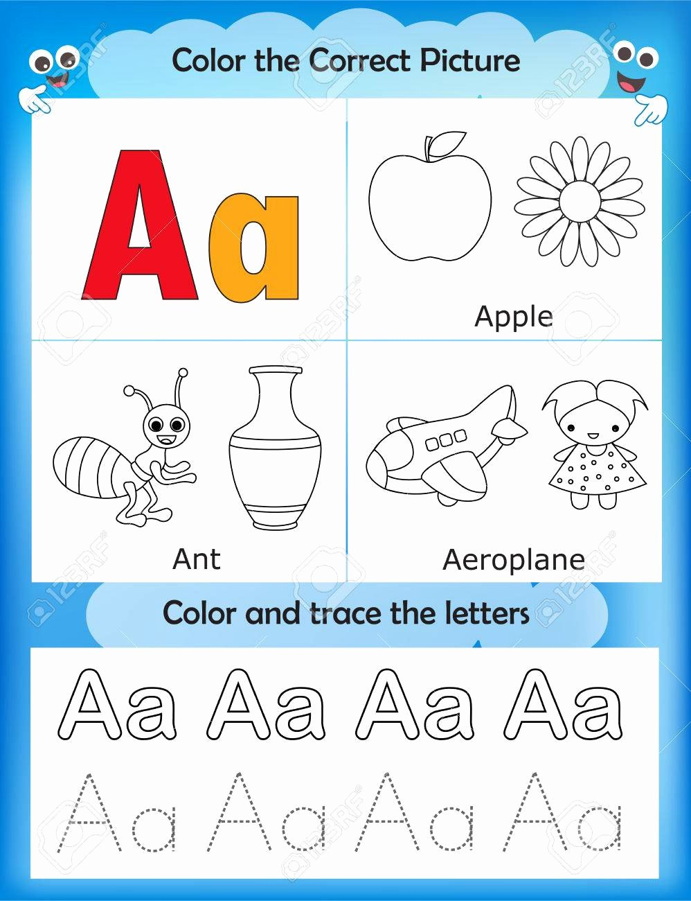 Letter Aa Worksheets for Preschoolers Lovely Alphabet Learning Letters & Coloring Graphics Printable Worksheet
