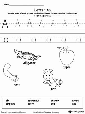 Letter Aa Worksheets for Preschoolers New Words Starting with Letter A