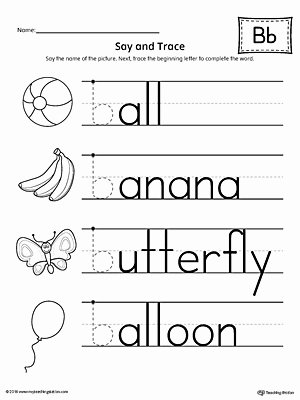 Letter B Worksheets for Preschoolers top Say and Trace Letter B Beginning sound Words Worksheet