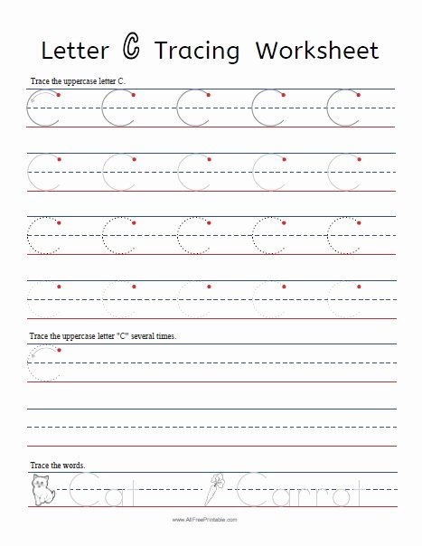 Letter C Tracing Worksheets for Preschoolers Best Of Letter C Tracing Worksheets Free Printable