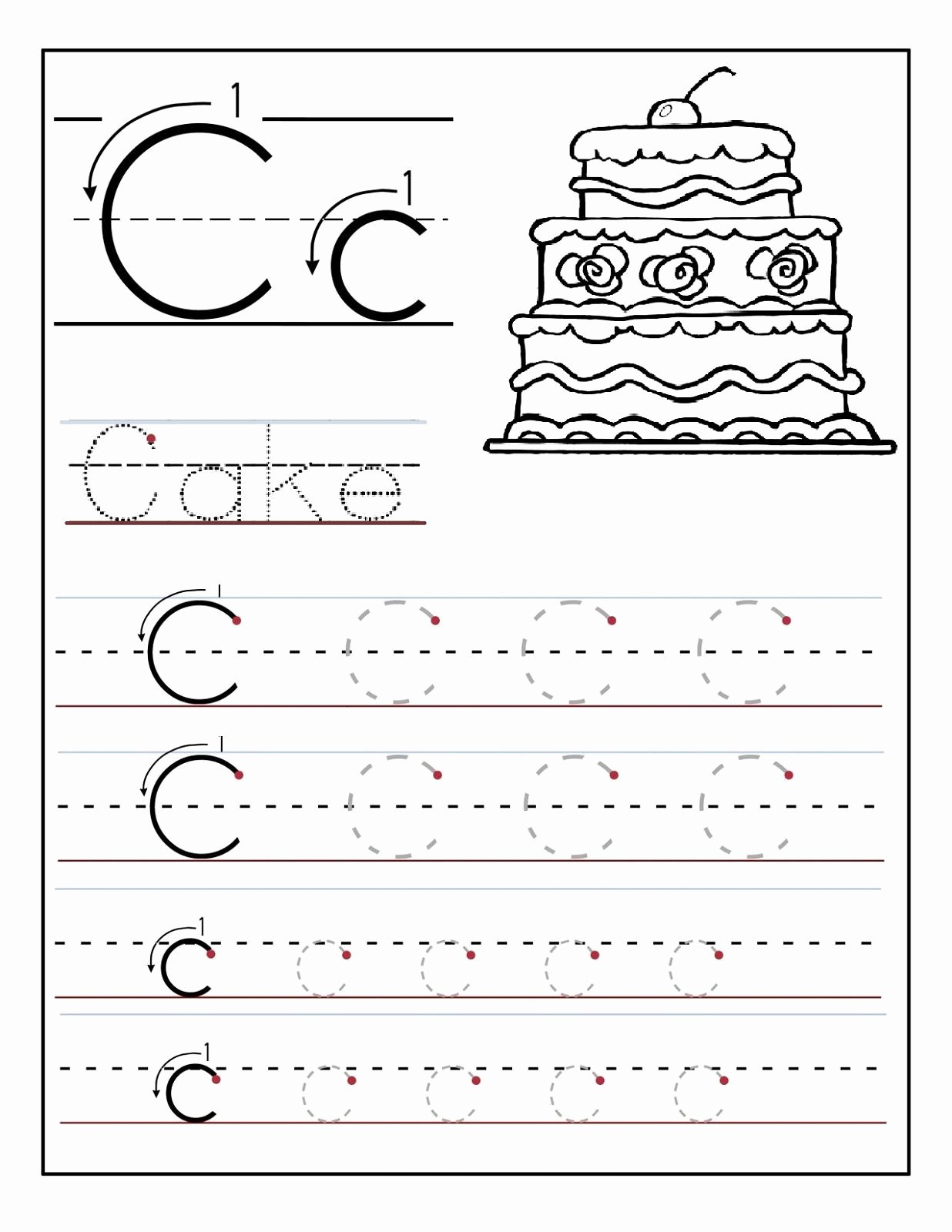 Letter C Tracing Worksheets for Preschoolers Free Trace the Letter C Worksheets