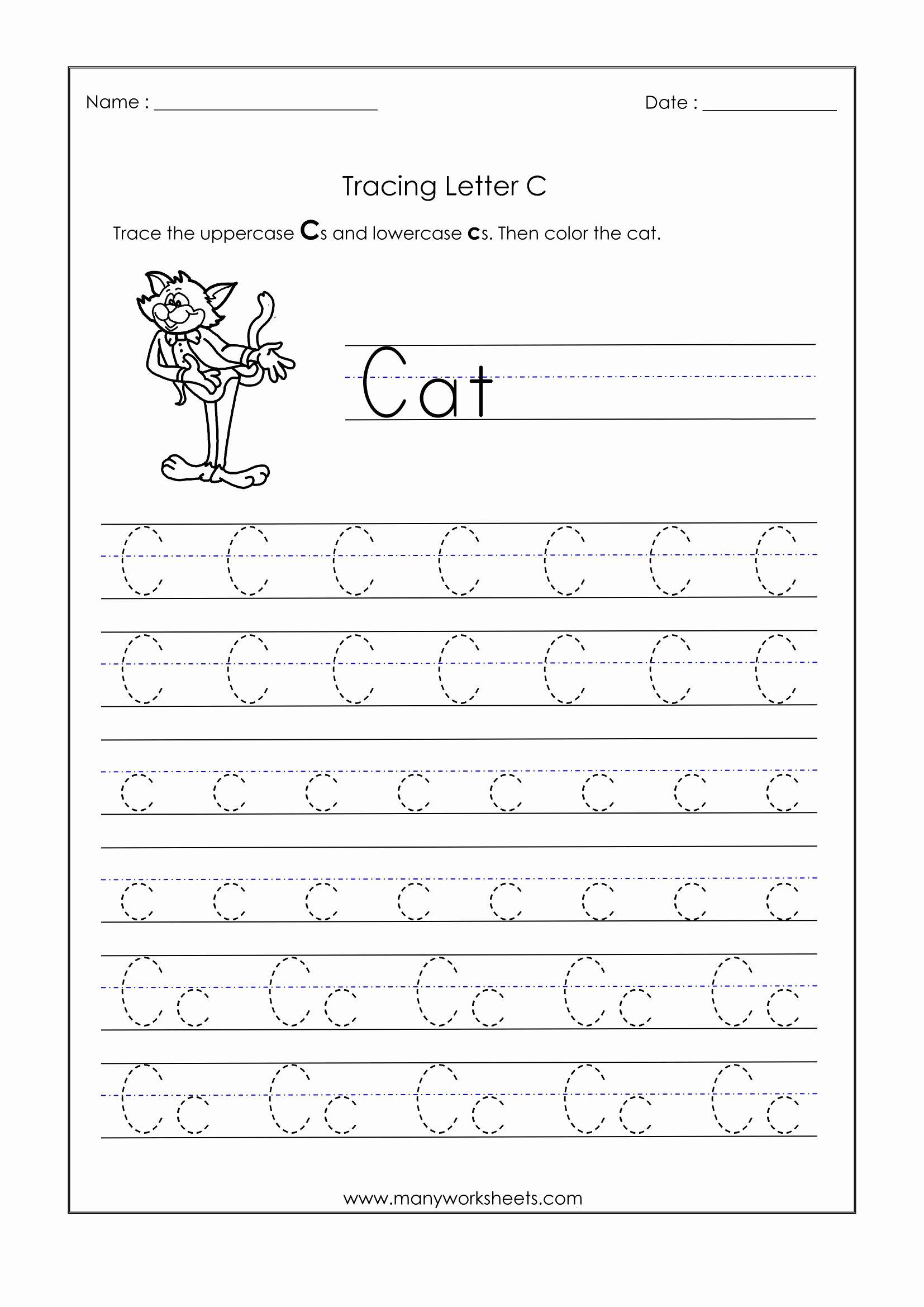 Letter C Tracing Worksheets for Preschoolers Fresh Letter Worksheets for Kindergarten Trace Dotted Letters