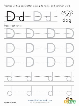 Letter D Tracing Worksheets for Preschoolers Fresh Letter D Tracing Worksheet